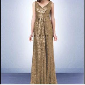Bill Levkoff gold sequin cross front long dress